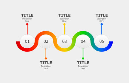 Circle infographics for five steps process or progression. Timeline workflow layout vector design.