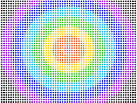 High density colorful dots pattern seamless isolated. Target face circle on white background