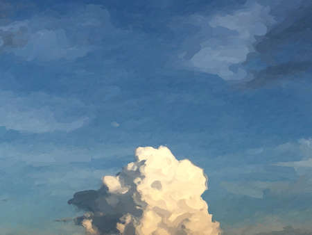 Beautiful cloud pattern on blue sky color shade with orange. Classic nature with oil painting. Imagens