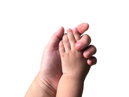 Little boy holding mom hand with love isolated on white background Imagens