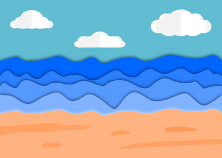 Beach and sea view in the summer background. Vector with paper cut and craft style design concept.
