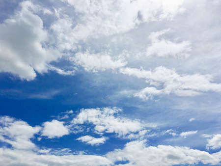 Beautiful light blue sky and white cloudy on the day. Color shade of nature background
