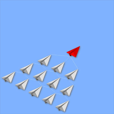 Red isometric paper plane leading gray staff ones go on the route on blue background. Leadership and teamwork concept.