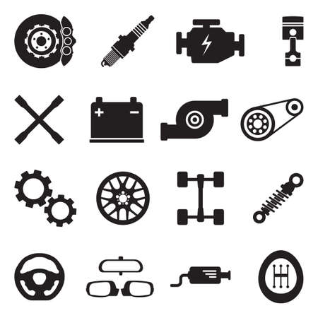 Car Parts Icons. Black Flat Design. Vector Illustration. Ilustração