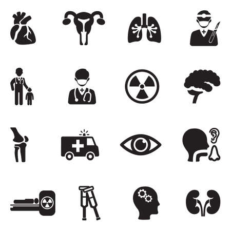 Hospital Departments Icons. Black Flat Design. Vector Illustration.
