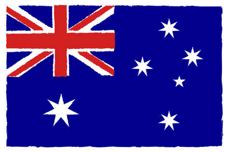 Flag of Australia. Hand Painted with Brush. Vector Illustration.