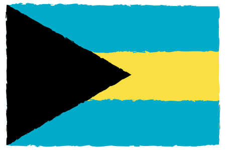 Flag of Bahamas. Hand painted with brush. Vector illustration. Illustration