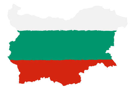 Map of Bulgaria with Flag. Hand Painted with Brush. Vector Illustration.