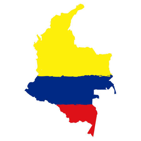 Map of Colombia with flag. Hand painted with brush. Vector illustration.  イラスト・ベクター素材