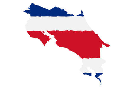 Map of Costa Rica with Flag. Hand Painted with Brush. Vector Illustration.