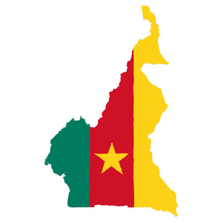 Map of Cameroon with flag. Hand painted with brush. Vector illustration.
