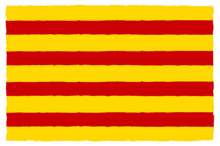 Flag of Catalonia. Hand Painted with Brush. Vector Illustration.