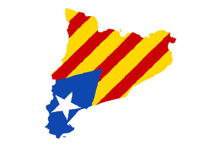 Map of Catalonia with Flag. Hand Painted with Brush. Vector Illustration.