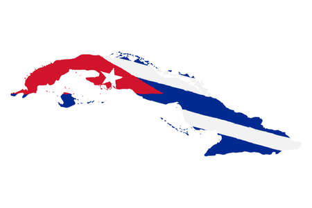 Map of Cuba with flag. Hand painted with brush. Vector illustration. Vectores