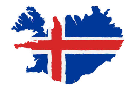 Map of Iceland with Flag. Hand Painted with Brush. Vector Illustration.