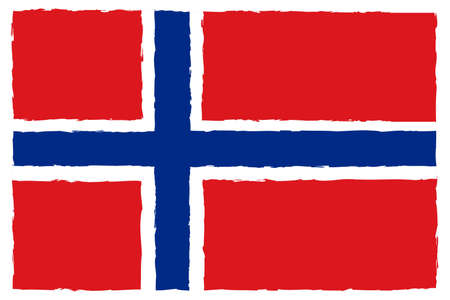 Flag of Norway. Hand Painted with Brush. Vector Illustration.  イラスト・ベクター素材