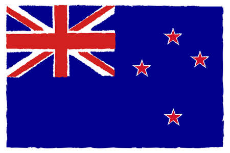 Flag of New Zealand. Hand Painted with Brush. Vector Illustration. Illustration