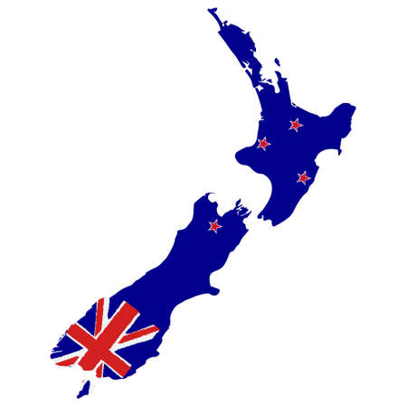 Map of New Zealand with Flag. Hand Painted with Brush. Vector Illustration.