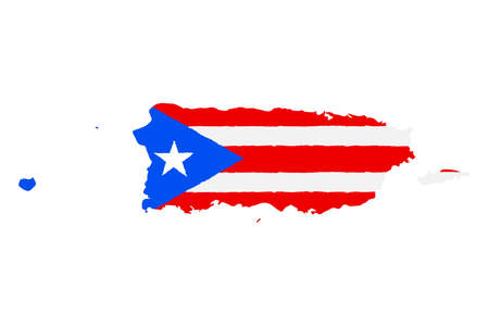 Map of Puerto Rico with Flag. Hand Painted with Brush. Vector Illustration.
