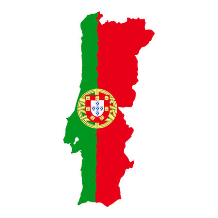 Map of Portugal with Flag. Hand Painted with Brush. Vector Illustration.