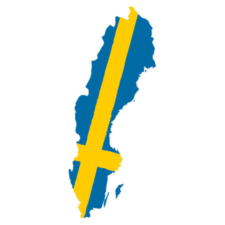Map of Sweden with Flag. Hand Painted with Brush. Vector Illustration.