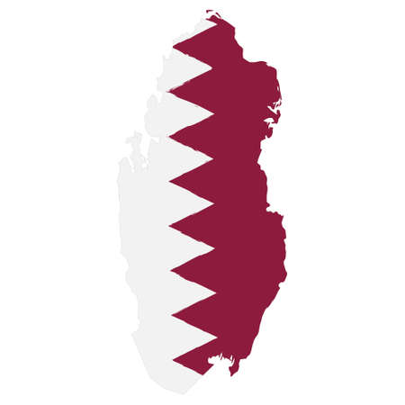 Map of Qatar with Flag. Hand Painted with Brush. Vector Illustration.