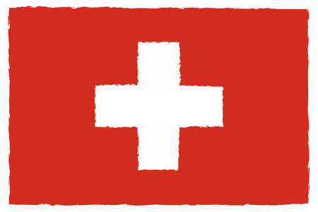 Flag of Switzerland. Hand Painted with Brush. Vector Illustration.