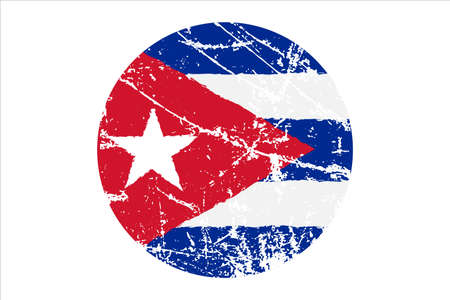 Flag of Cuba grunge style. Hand painted with brush. Vector illustration.