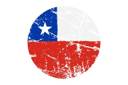 Bandera de Chile Estilo Grunge. Pintado a mano con pincel. Ilustración vectorial Vectores