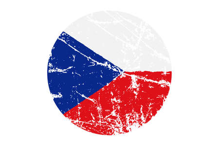 Flag of Czech Republic grunge style. Hand painted with brush. Vector illustration.