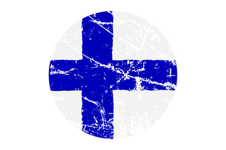 Flag of Finland grunge style. Hand painted with brush. Vector illustration.