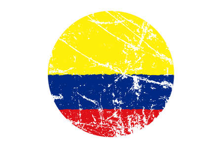 Flag of Colombia grunge style. Hand painted with brush. Vector illustration.