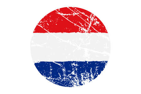 Flag of Netherlands grunge style. Hand painted with brush. Vector illustration.