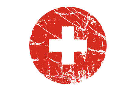 Flag of Switzerland grunge style. Hand painted with brush. Vector illustration.