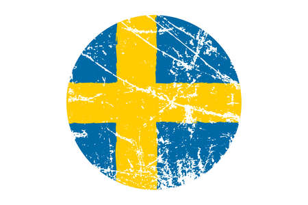 Flag of Sweden grunge style. Hand painted with brush. Vector illustration.