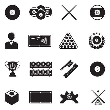 Billiards Icons Vector Illustration.