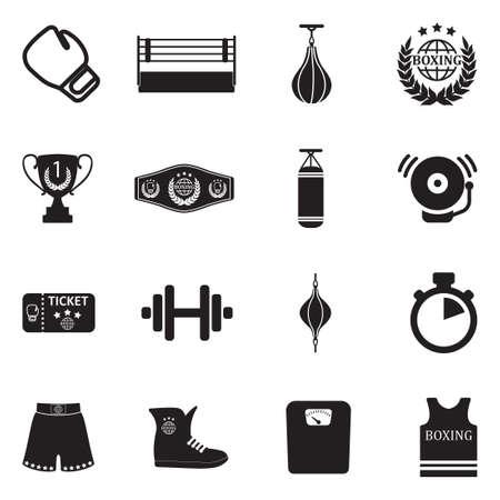 ボクシング アイコン。ブラックフラットデザイン、ベクトルイラスト。  イラスト・ベクター素材