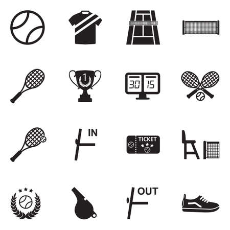 Tennis Icons Vector Illustration. Çizim