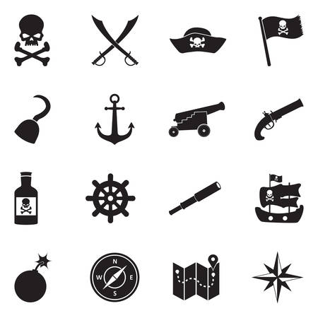 Pirate Icons Vector Illustration.