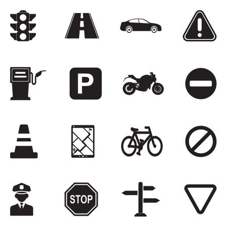 Traffic Icons. Black Flat Design. Vector Illustration. Ilustração