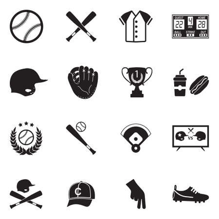Baseball Icons. Black Flat Design. Vector Illustration.  イラスト・ベクター素材