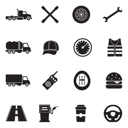 Truck Driver Icons. Black Flat Design. Vector Illustration.