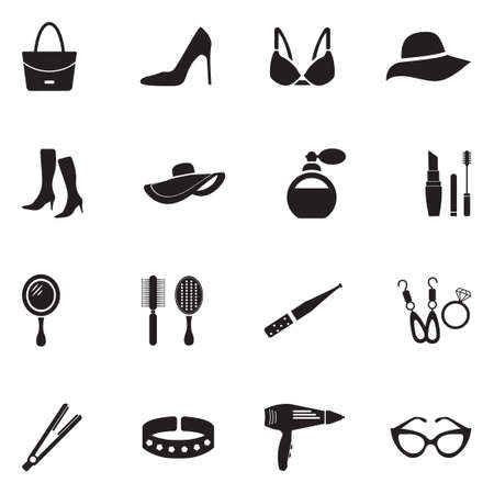 Woman's Accessories Icons. Black Flat Design. Vector Illustration.