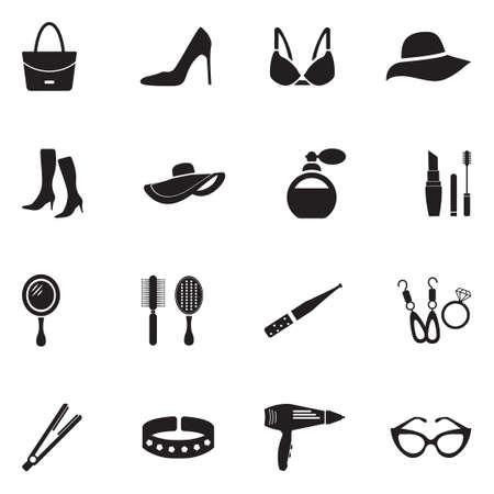Woman's Accessories Icons. Black Flat Design. Vector Illustration.