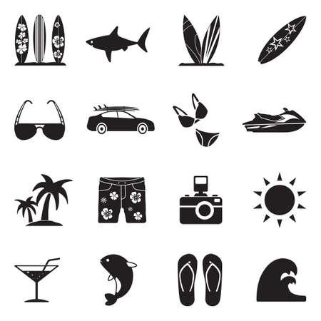 Surfing Icons. Black Flat Design. Vector Illustration.