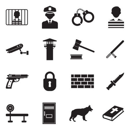 Prison Icons. Black Flat Design. Vector Illustration. Illustration