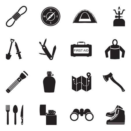 Survival Kit Icons. Black Flat Design. Vector Illustration. Stock Illustratie