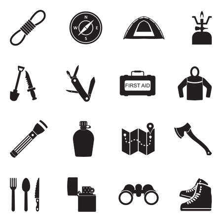 Survival Kit Icons. Black Flat Design. Vector Illustration. Ilustração