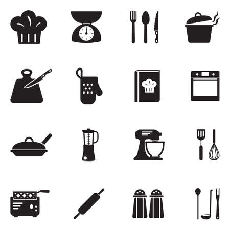Cooking Icons. Black Flat Design. Vector Illustration.
