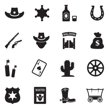 Cowboy Icons. Black Flat Design. Vector Illustration.